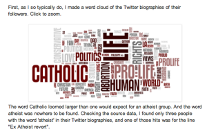 """screenshot of website text with word cloud with word """"Catholic"""" prominent among the terms"""