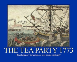 Print of Boston Tea Party with caption: revolutionary terrorists or just hippie radicals?