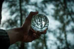 Hand holding a clear crystal ball showing inverted reflection of surrounding trees.